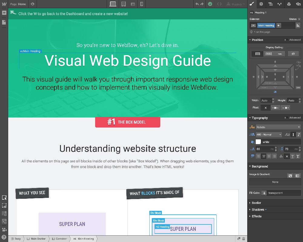 Webflow CMSのサイト構築画面